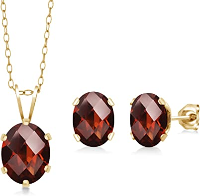 Oval Garnet Pendant Earrings
