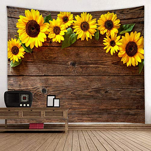 Wooden Board Sunflower Flower Print Fabric Tapestry Decor Wall Art Tablecloths Bedspread Picnic Blanket Beach Throw Tapestries Colorful Bedroom Hall Dorm Living Room Hanging 79 x 59 inches