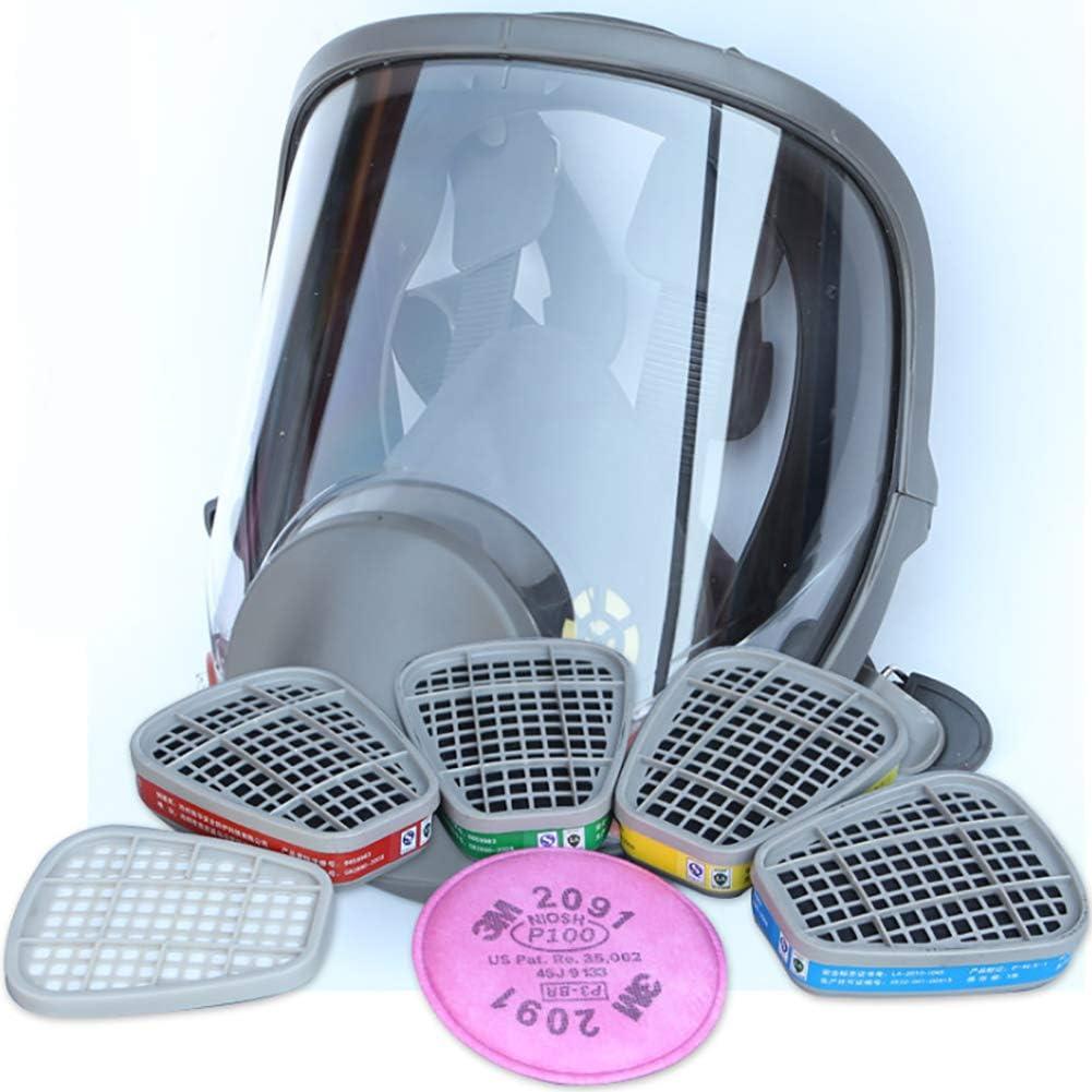 WFBP Máscara De Respiración Cara Completa Silicona Filtro De Protección Facial con Ventilador Protección Ante Gases de Incendio vapores,No. 3