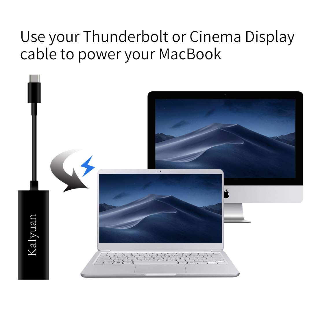 USB C to MagSafe KaIyuan USB C for Magsafe1 Magsafe2 Laptop Adapter Compatible with New MacBook Pro/Air and Any USB C Device (USB C to MagSafe Black ...