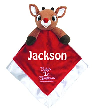 32a3e1a0fb4 Amazon.com  Kids Preferred Personalized Baby s First Christmas Rudolph the Red  Nose Reindeer Blanky Blanket - 14 Inches  Toys   Games