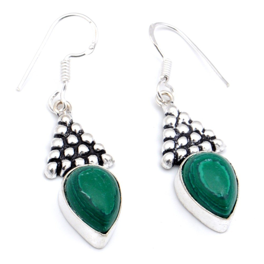 Fashion Level Green Malachite Sterling Silver Overlay Earring 1.75 Handmade Jewelry