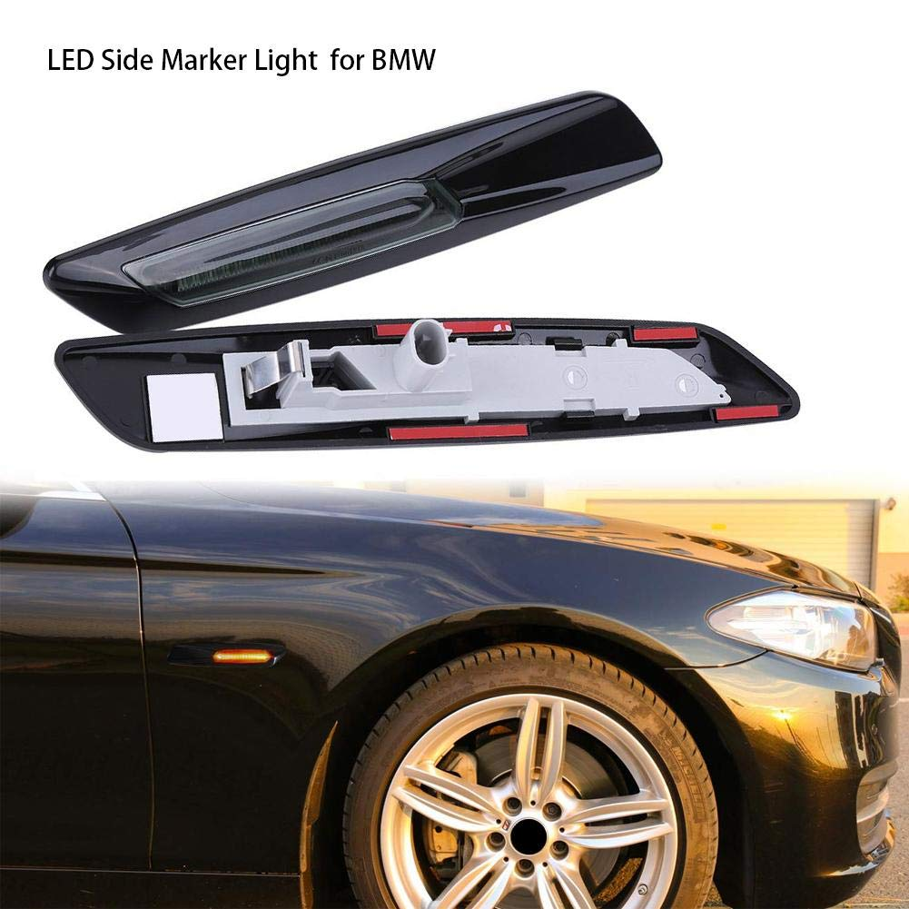 Luckybaby Side Indicator,1 pair of 18 SMD LED Side Marker Light-Amber with CAN-bus OBC Error Free OE Socket Smoke Turn Signal Light for BMW 3 Series 5 Series