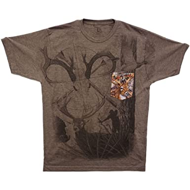 4fe6e1023 Image Unavailable. Image not available for. Color: Dustin clothing series Camo  Wild Life Hunting Game Soft T-Shirt Tee Printed Pocket Brown