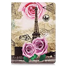 iPad Pro 9.7 Case, Ngift [Rose Eiffel Tower] Auto Sleep Wake PU Leather [Card Slots] [Kickstand Function] Folio Flip Wallet Case Cover for Apple iPad Air 3 / iPad Pro 9.7 inch