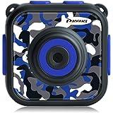 DROGRACE キッズカメラ IP68防水30Mまで 1.77インチ 4倍ズーム 1080P録画 日本語説明書 迷彩柄 ブルー