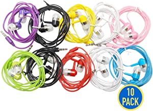 10 Pack EarBud Headphones Bulk (G14), Multi Colors Classroom Wired Earphones Wholesale Accessory Competible with iPhone Android Mobile Phones Computers Laptops MP3