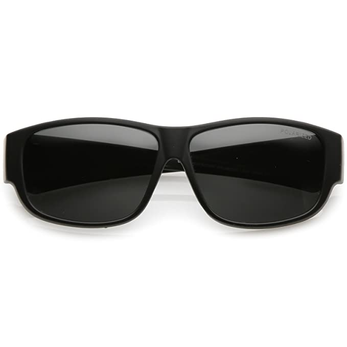 7068f8b4f3a sunglassLA - Square Polarized Lens Thick Horn Rimmed Sunglasses With Wide  Arms 57mm (Matte Black