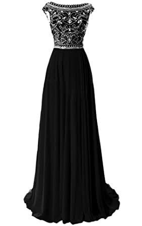 Prom Queen Womens Elegant Long Bridesmaid Cap Sleeve Prom Evening Dresses Black US2