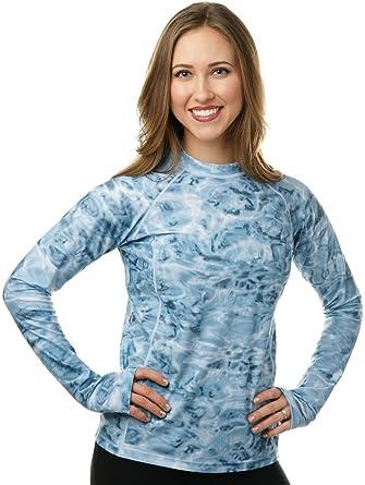 65d7d43f86e Aqua Design Womens Long Sleeve Swim Shirt  UV Rash Guard with Thumb Holes   Aqua