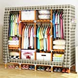 GL&G Portable wardrobe washable Oxford cloth Storage tissue racks Bedroom hangers Solid wood Reinforced simple folding Clothing & Wardrobe Storage,B,67''68''