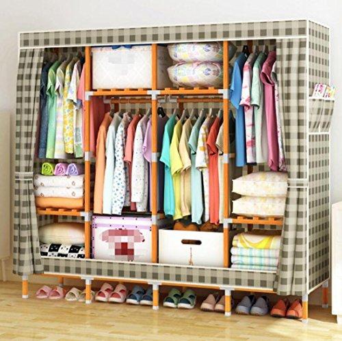 GL&G Portable wardrobe washable Oxford cloth Storage tissue racks Bedroom hangers Solid wood Reinforced simple folding Clothing & Wardrobe Storage,B,67''68'' by GAOLIGUO