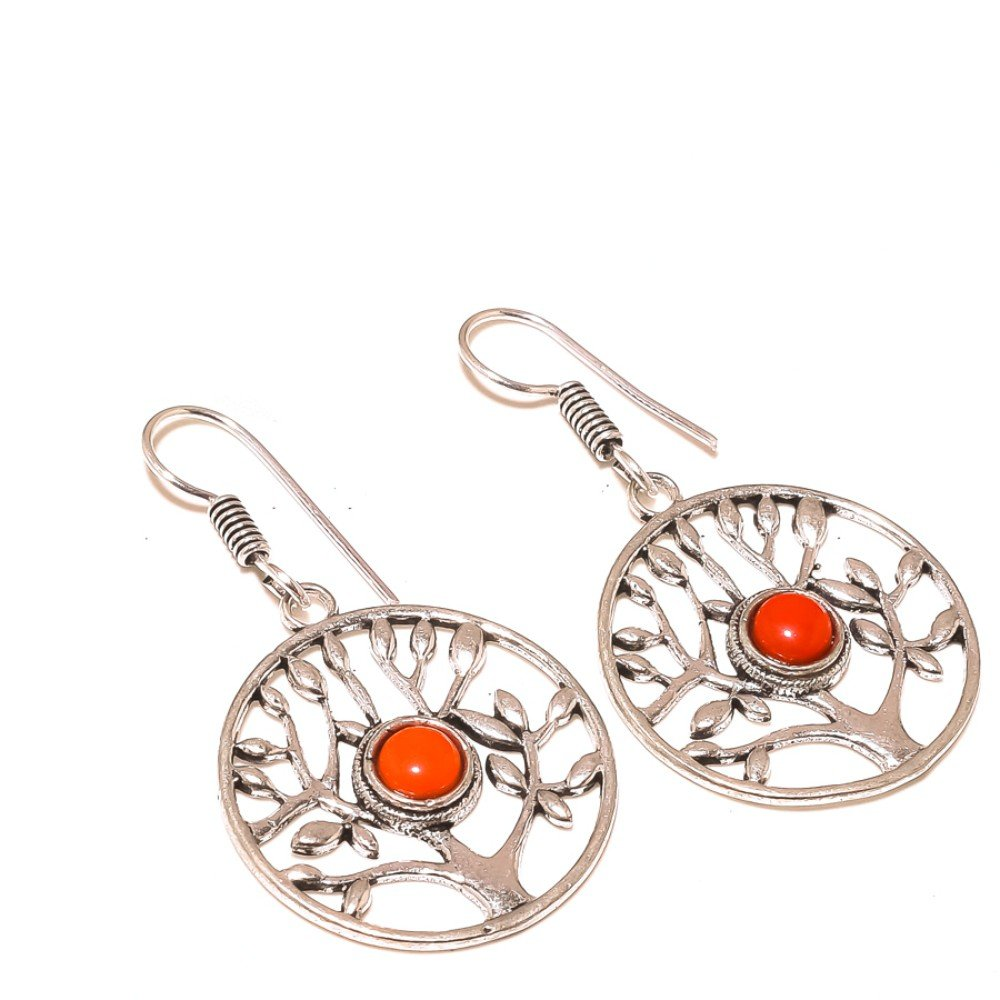 Top On Trending Red Coral Sterling Silver Overlay 10 Grams Earring 2 Long