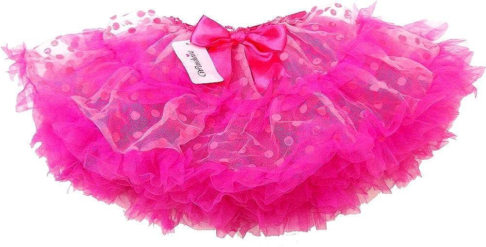 wenchoice Girls Fluffy Hot Pink Polka Dot Pettiskirt
