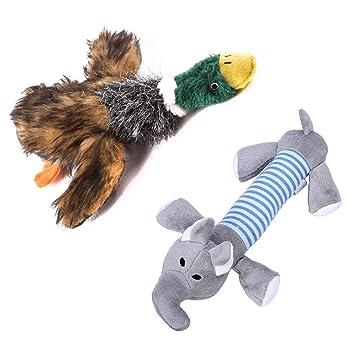 PET SPPTIES Juguete Mordedor Felpa Pato Sonida Forma Pato para Gatos Perros Mascotas,Cute Dog Toy Plush Sound Squeaky Elefante Pato Pig Juego de Peluche de ...