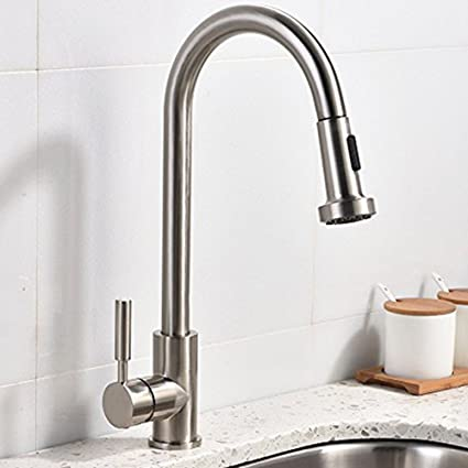 Great Best Commercial Stainless Steel Single Handle Pull Out Sprayer Brushed  Nickel Kitchen Faucet, Pull Down