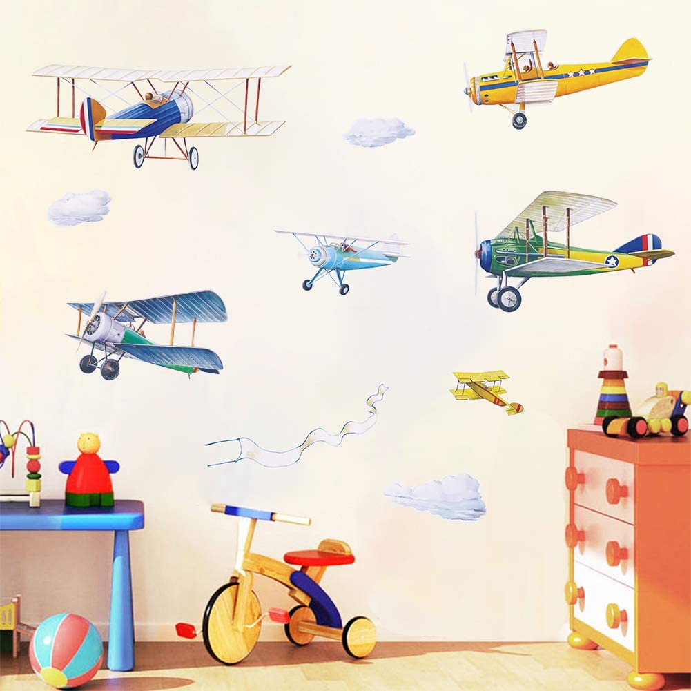 Airplane Theme Wall Stickers DIY Aircraft Wall Art Decal for Baby Nursery Childrens Playroom Bedroom Wall Decor