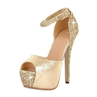 Aisun Women's Sexy Sequined Peep Toe Platform Buckle Stiletto High Heels Sandals With Ankle Straps