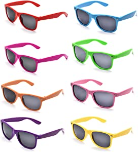 Neon Colors Party Favor Supplies Unisex Sunglasses Pack of 8 (Multicolor)