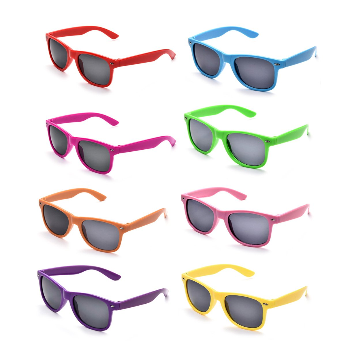 Neon Colors Party Favor Supplies Unisex Sunglasses Pack of 8 (Multicolor) by Pibupibu