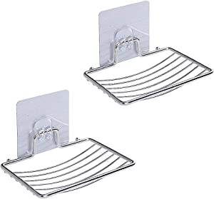 SOFTBATFY Sturdy Soap Dish Holder, 2 Pack Self Adhesive Wall Mounted Soap Sponge Holder Stainless Steel Storage Saver Rack for Home Kitchen Bathroom Shower (Self Adhesive Soap Dish)
