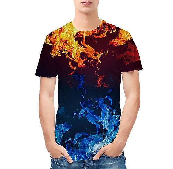 Hombre Camiseta Tops HD 3D Imprimir Vintage Hip Hop Estilo Camisetas Verano Manga Corta Cuello Redondo Slim Fit Hipster Ropa T Shirt tee Ropa Juveniles: ...