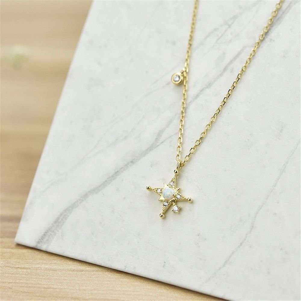 Ling Studs Earrings Hypoallergenic Cartilage Ear Piercing Simple Fashion Earrings Ear Jewelry Sterling Silver Necklace Clavicle Chain Simple Star Pendant Student 925 Silver Short Accessories, Gold by Ling (Image #2)