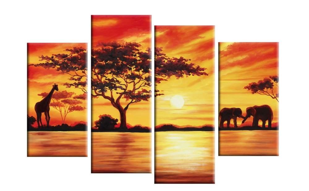 Large Africa Red Toned Landscape Canvas Picture 4 pieces multi panel ...
