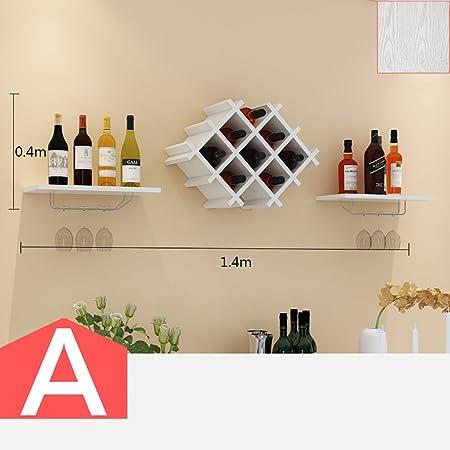 Cabinets L botellero botellero de Madera de Montaje en la Pared Mueble Bar para decoración de Pared de Bar Moderna Sala de Estar botellero Colgar en la Pared Opcional (Color : A):