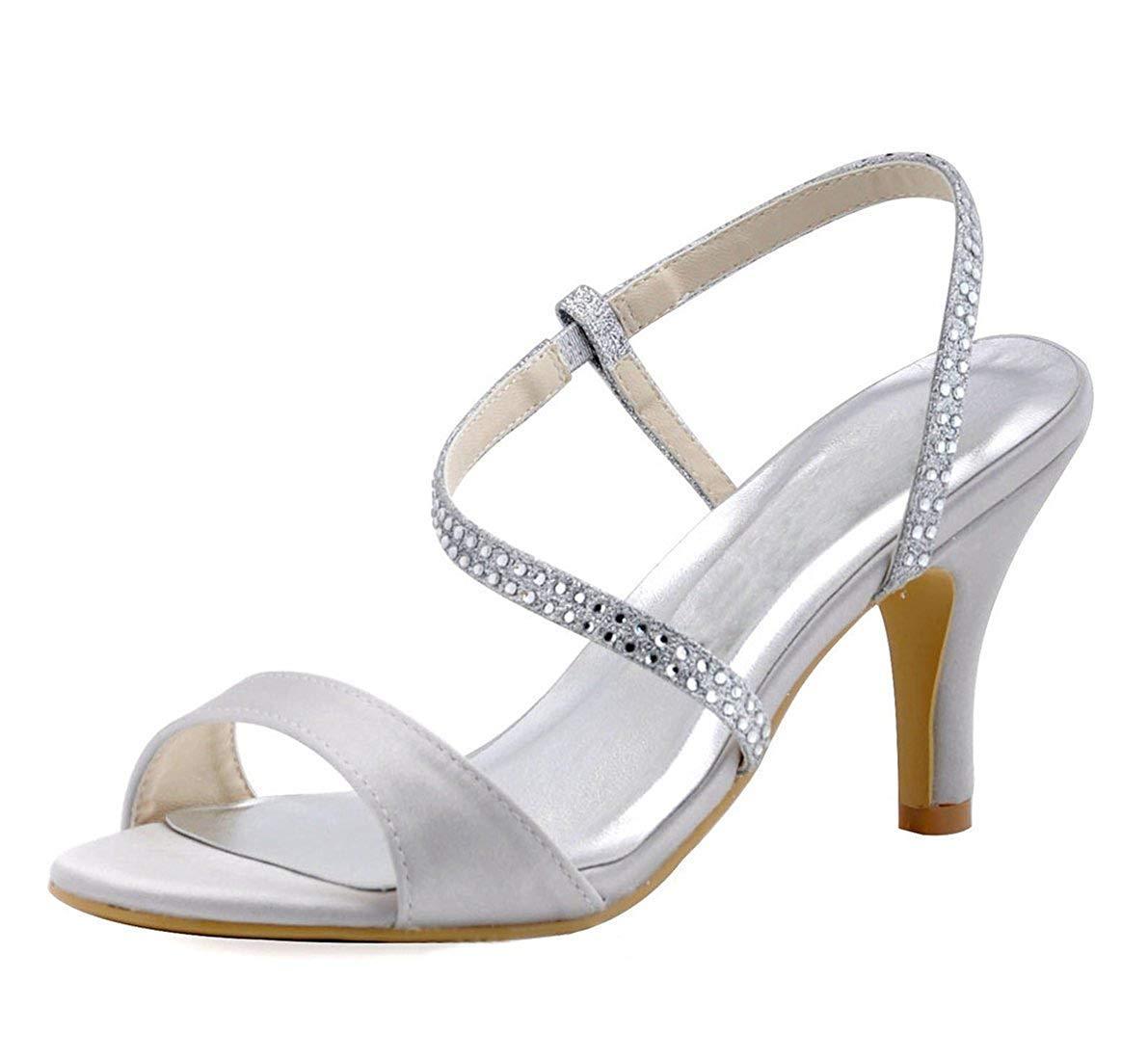 Qiusa Damen Crystals Ankle Wrap Wrap Wrap Elfenbein Satin Bridal Wedding Dress Sandalen UK 5.5 (Farbe   - Größe   -) 4a0f94
