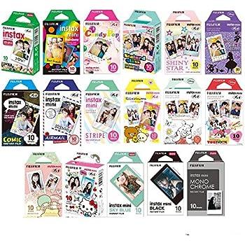 Fujifilm Instax Mini Instant Film 17 SET , Sky Blue , Black , Single , Monochrome , Candy pop , Stained Glass , Shiny Star , Rainbow , Comic , Airmail , Stripe , 6 Character + Sticker