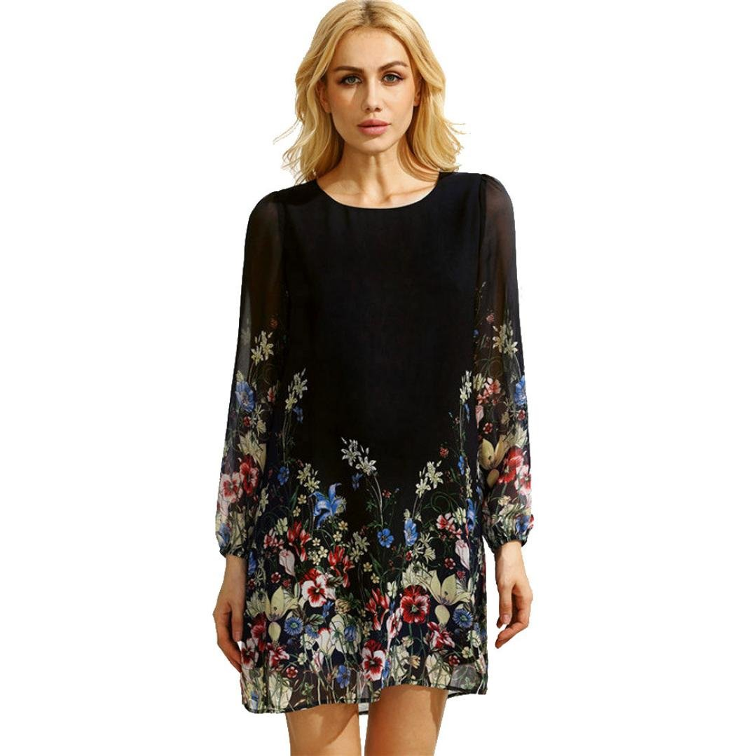 Women Dress, Familizo Ladies Round Neck Long Sleeve Floral Print Chiffon Dress