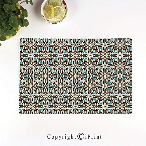 (LIFEDZYLJH 4Pcs Simple Style Decorative Washable Anti-Slip Woven Flax-Like Table Placemats,Arabesque Middle Eastern Inspired Moroccan Star Pattern Ornament,Taupe Pale Blue Brown)