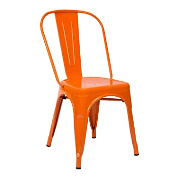 Vaukura Silla Tolix - Silla Industrial Metálica Brillo (Naranja)