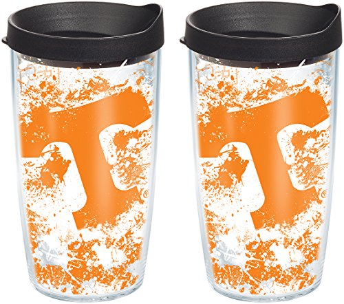 (Tervis 1140199 Tennessee Volunteers Splatter Tumbler with Wrap and Black Lid 2 Pack 16oz, Clear)
