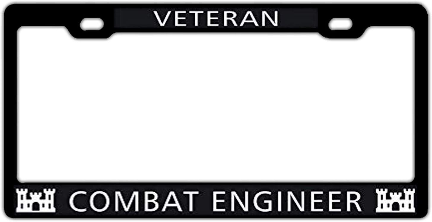 Veteran US Army Combat Engineer Customized License Plate Frame Holder Black US Car License Plate Frame 2 Holes Matching Screws Caps