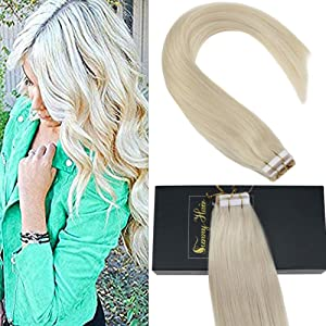 Giveaway: Sunny Tape in Human Extensions 18 inch Blonde Tape in Hair...