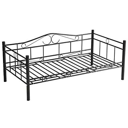 Giantex Twin Size Metal Platform Bed Frame With Headboard And Steel Slat Support Heavy Duty Easy Assembly Mattress Foundation Box Spring Replacement, Black by Giantex