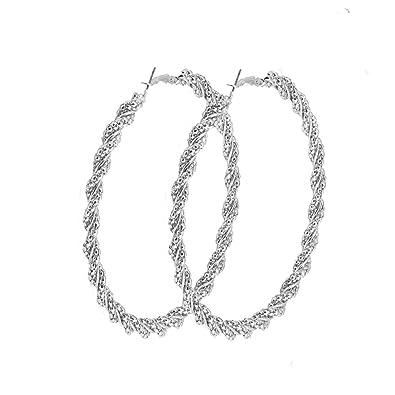 f49716b2407 VUJANTIRY Hoop Earrings Statement Extra Large Hoop Earrings Rounded Twisted  Hoop Earrings for Women 3.5 inch