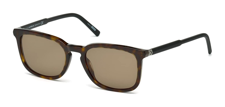 cd1dcabc66 Amazon.com  Mont Blanc Sunglasses for Men Dark Havana Acetate Frame MB586S  F52J 55 rectangular square  Clothing