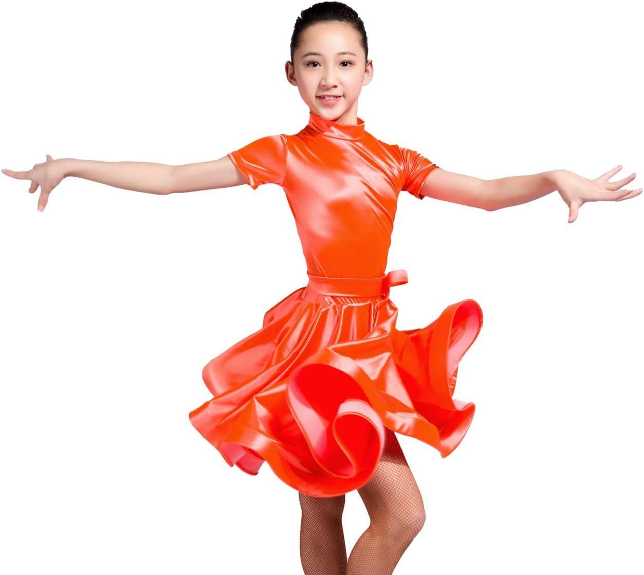 SCGGINTTANZ GD3101 Kid Latin Ballroom Dance Professional Velvet and Satin Stitching Design Race//Performance Dress for Girl