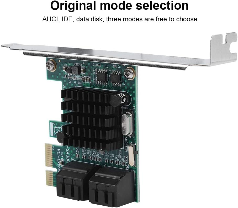 4-Port PCIE to SATA 3.0 Adapter Mugast SATA//SATA Expansion Card Larger Heat Sink 2U Universal Rear SATA3.0 Interface 4U