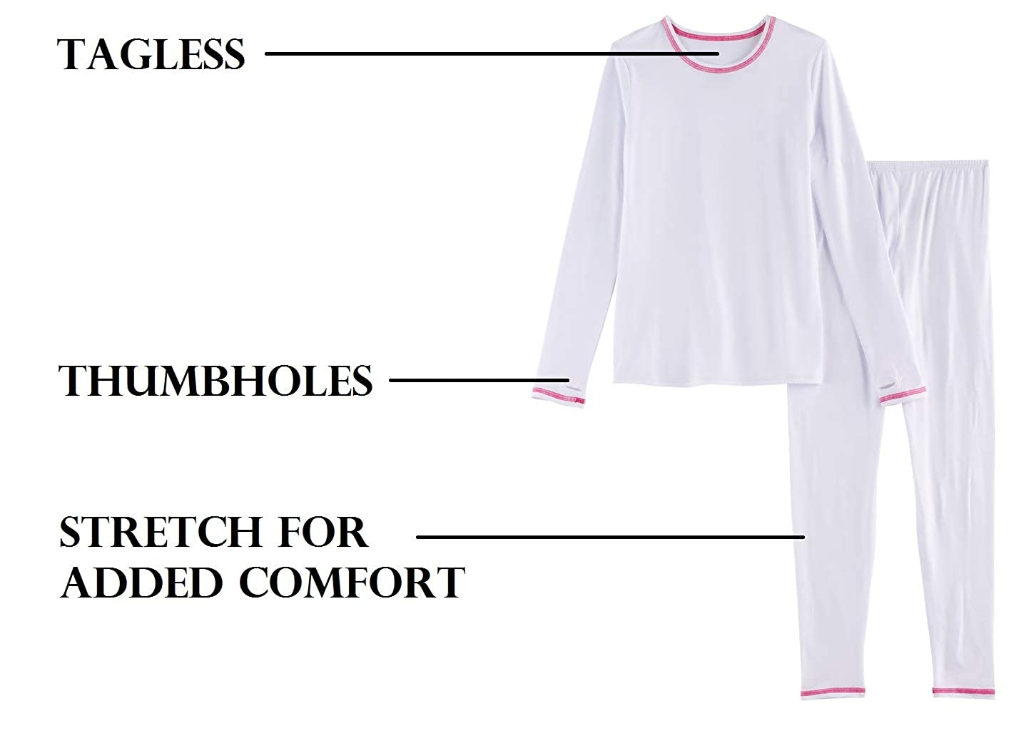 Girls Winter Base-Layer Thermal Underwear top and Bottom Set with Thumbhole Active  Base Layers