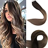 "Full Shine 20"" Full Head Tape Hair Extensions Human Hair Remy Balayage Hair Extensions Color #2 Fading to #6 and #18 Ash Blonde Highlighted Hair Extensions 50g 20 Pcs/Package"