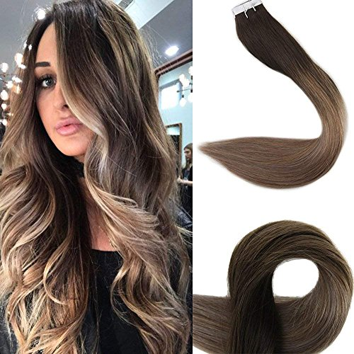 """Beauty : Full Shine 18"""" Tape Ombre Hair Extensions Remy Hair Extensions Human Hair Glue in Extensions Balayage Color #2 Fading to #6 and #18 Ash Blonde Highlighted Hair Extensions 50g 20Pcs/Package"""