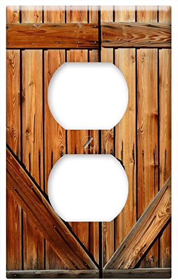 Switch Plate Outlet Cover Barn Door Farm Wood Wooden Entrance Rustic Amazon Com