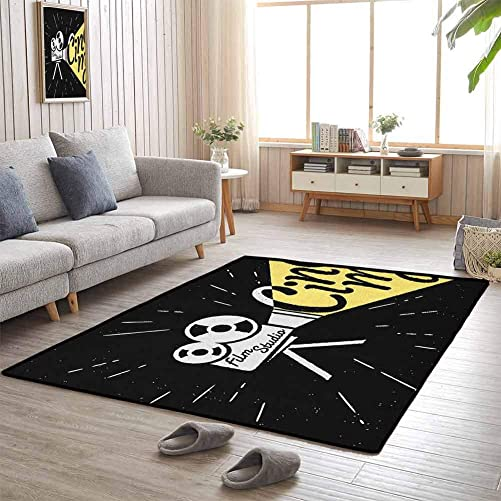 Movie Theater Extra Large Playmats Movie Projector Sketch with Grunge Cinema Lettering on Black Backdrop Gift for Children 6 6×9 10 Yellow Black White