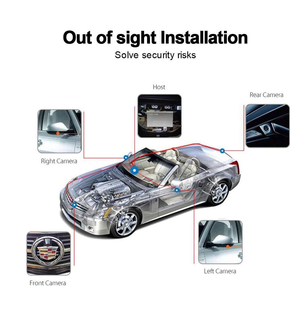 MiCarBa c/ámara de visi/ón Trasera Impermeable Sistema de estacionamiento de Ojo de p/ájaro panor/ámico de 360 Grados con c/ámara de grabaci/ón G-Sensor
