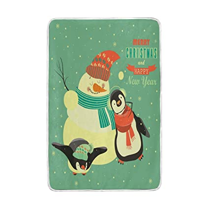 Amazon.com: GOEPULY Winter Penguins and Snowman Ultra Soft ...