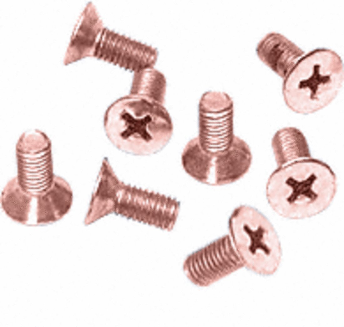 CRL Polished Copper Phillips 6 mm x 12 mm Cover Plate Flat Head Screws - Package